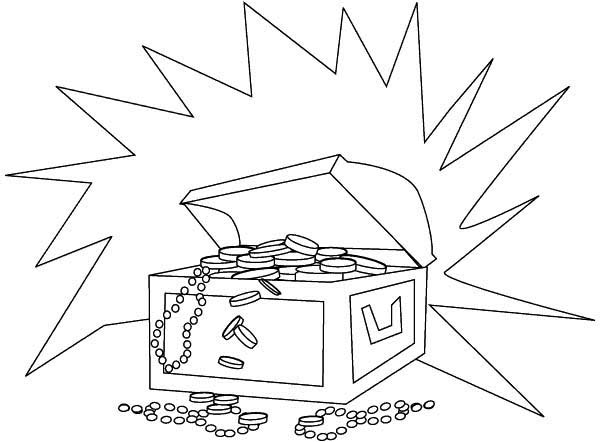 Treasure Chest, : A Shining Treasure Chest Filled of Gold Coins Coloring Page