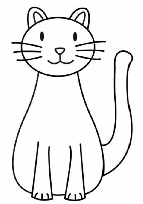 Kitty Cat, : A Simple Drawing of Kitty Cat Coloring Page