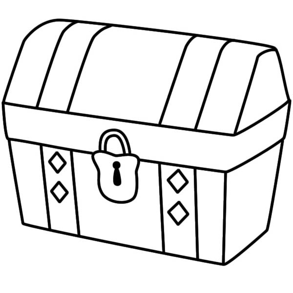 Treasure Chest, : A Simple Drawing of Locked Treasure Chest Coloring Page