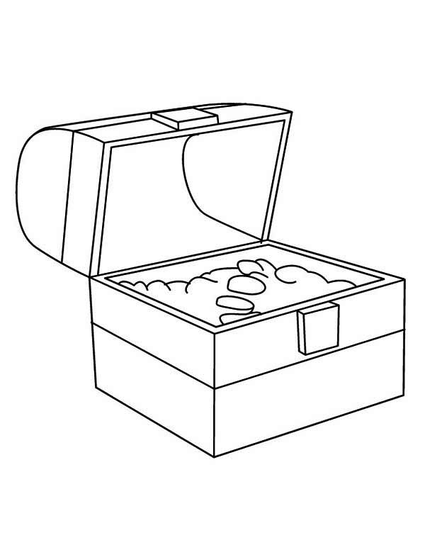 Treasure Chest, : A Simple Drawing of Treasure Chest Coloring Page