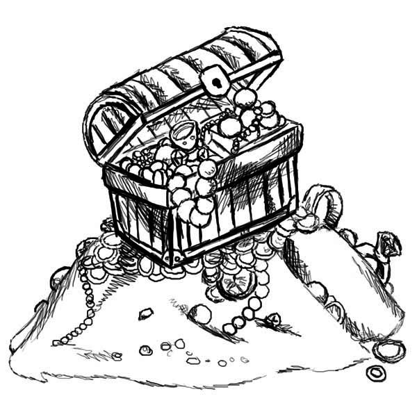 Treasure Chest, : A Sketch Drawing of Treasure Chest Coloring Page
