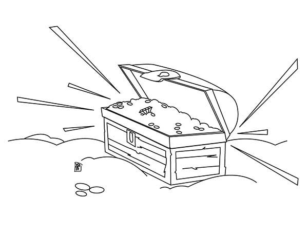 Treasure Chest, : A Sparkling Treasure Chest with Gold Coin Inside Coloring Page