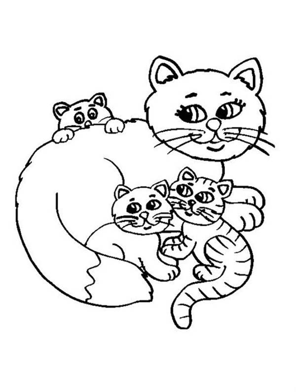 Kitty Cat, : A Sweet Kitty Cats and Its Mother Coloring Page