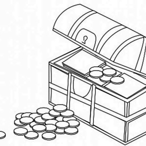 a treasure chest filled with gold coin coloring page