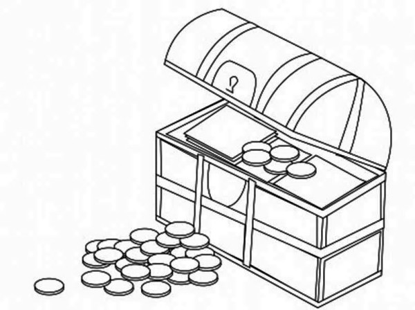 Treasure Chest, : A Treasure Chest Filled with Gold Coin Coloring Page