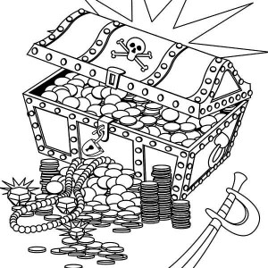 a treasure chest with pirate marks coloring page