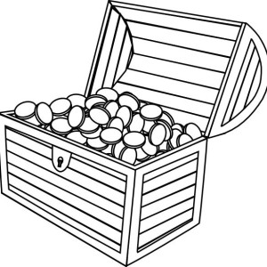 a wooden treasure chest filled of gold coins coloring page
