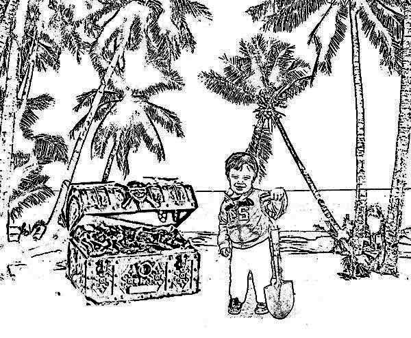 Treasure Chest, : A Young Boy Digging Treasure Chest in an Island Coloring Page