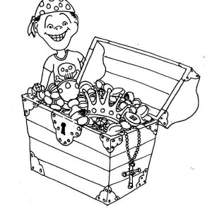 a young pirate boy and his treasure chest coloring page