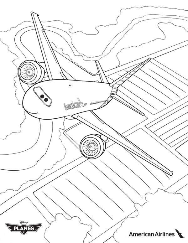 Disney Planes, : American Airlines Plane in Disney Planes Coloring Page