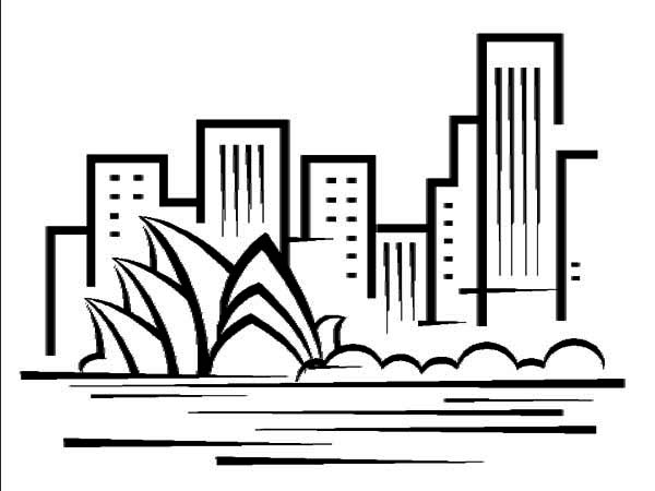 Australia Day, : An Art Graphic of Sidney Opera House on Australia Day Coloring Page