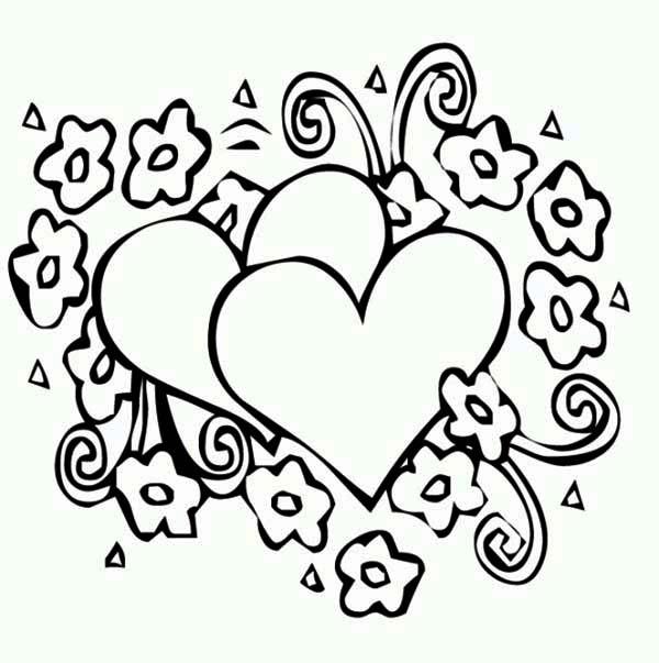 Valentine's Day, : An Artistic Valentine's Day Decoration Coloring Page