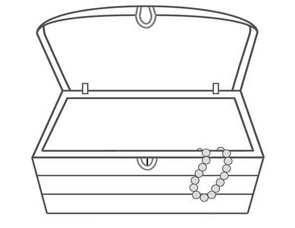 Treasure Chest, : An Empty Treasure Chest and a Single Necklace Coloring Page