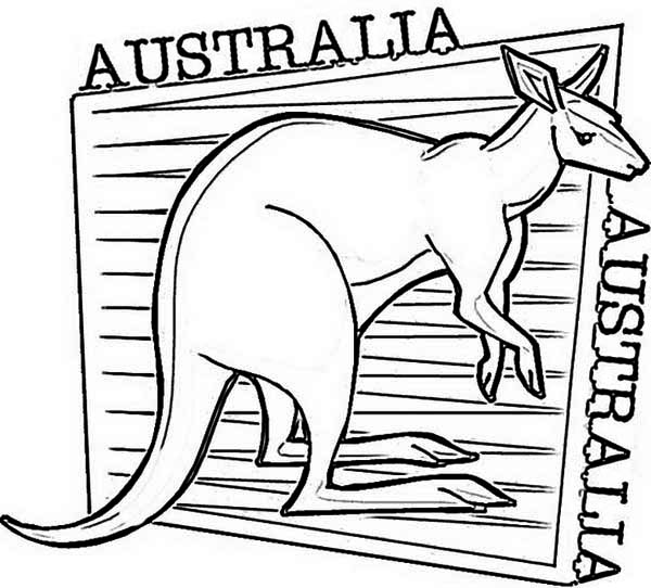 Australia Day, : An Illustration of Kangaroo for Australia Day Coloring Page