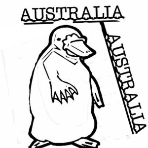 an illustration of platypus for australia day decoration coloring page