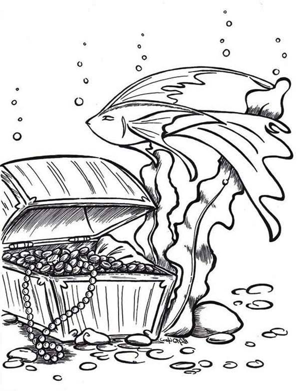 Treasure Chest, : An Opened Treasure Chest Deep in the Water Coloring Page