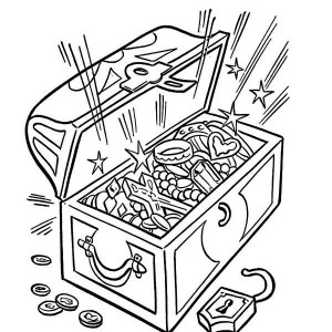 an opened treasure chest full of fortunes coloring page