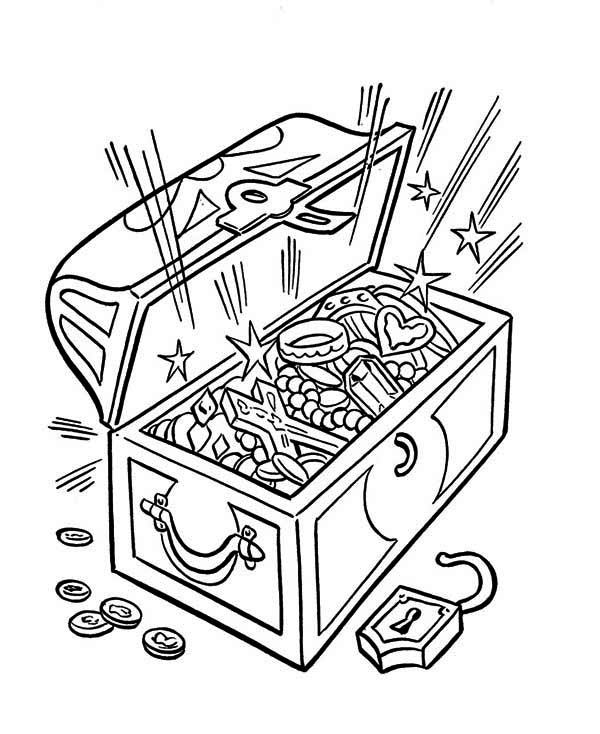 Treasure Chest, : An Opened Treasure Chest Full of Fortunes Coloring Page