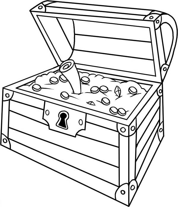 Treasure Chest, : An Opened Treasure Chest with a Treasure Map Inside Coloring Page