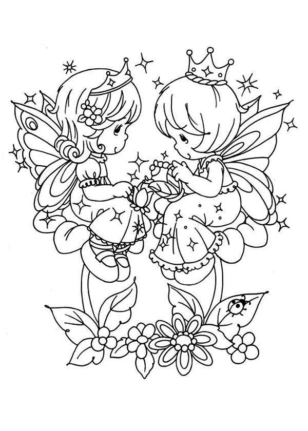 Precious Moments, : Angels Playing Love Song Precious Moments Coloring Page
