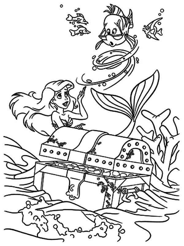 Treasure Chest, : Ariel Little Mermaid Found Treasure Chest in the Seabed Coloring Page