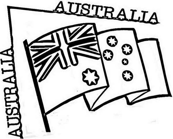 Australia Day, : Australia Flag for Australia Day Celebration Coloring Page