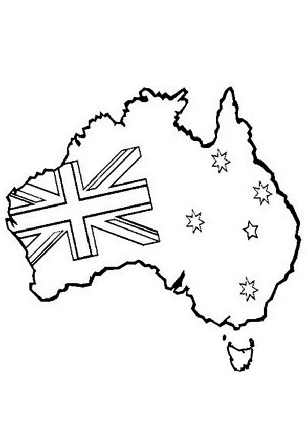 Australia Day, : Australia Map and Flag for Australia Day Decoration Coloring Page