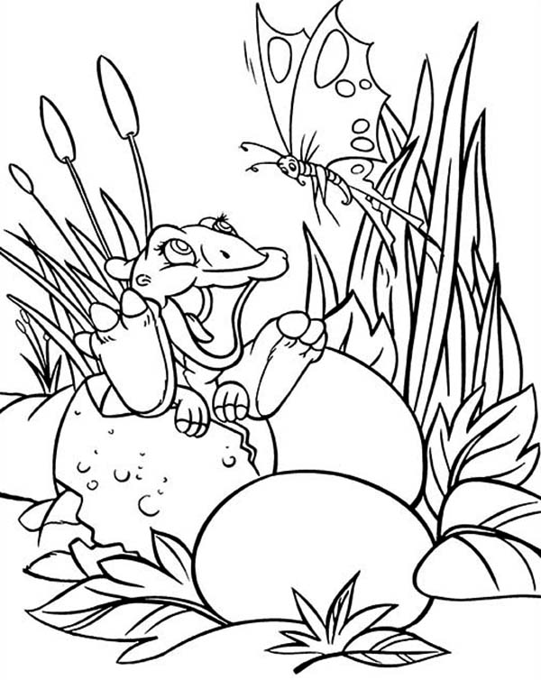 Land Before Time, : Baby Ducky Play with Butterfly Land Before Time Family Coloring Page