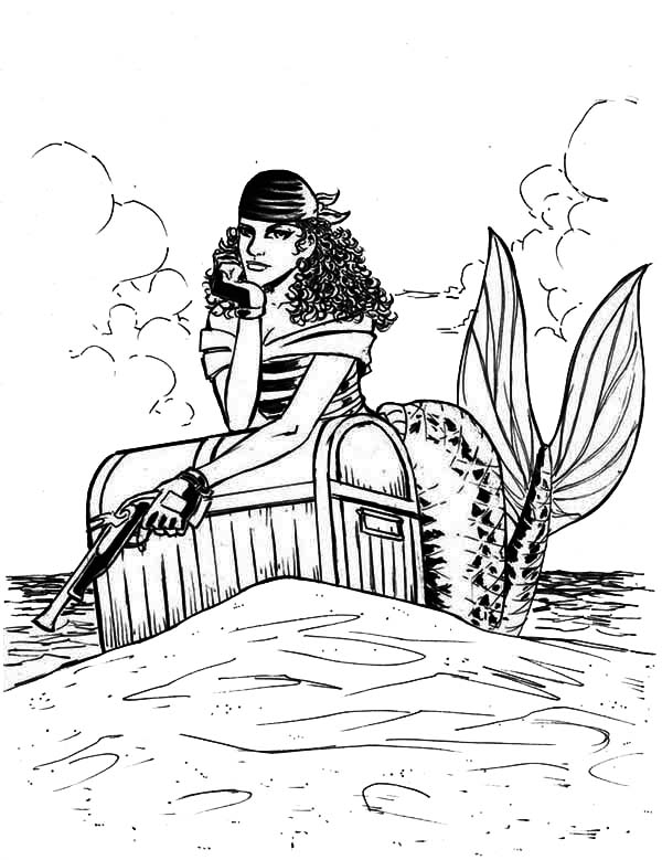 Treasure Chest, : Beautiful Mermaid Pirate Guarding Her Treasure Chest Coloring Page