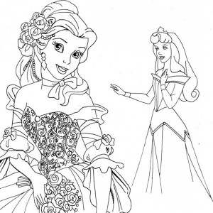 belle meet princess aurora on disney princesses coloring page