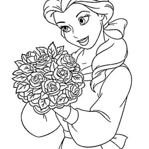 belle and a bucket of flower on disney princesses coloring page