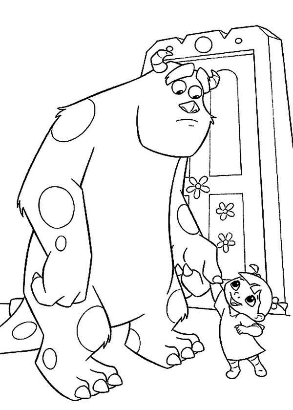 Monsters Inc, : Boo Likes Sulley Very Much in Monsters Inc Coloring Page