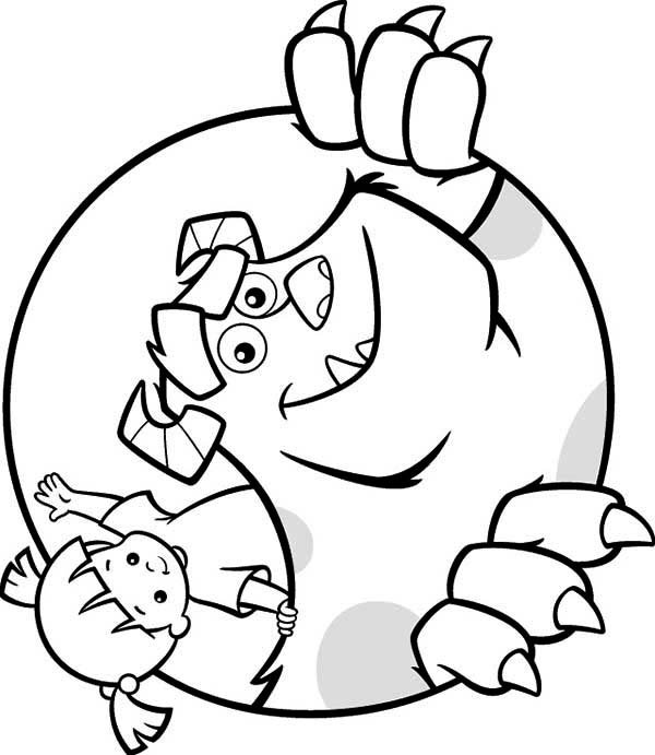Monsters Inc, : Boo and Sulley in Monsters Inc Coloring Page