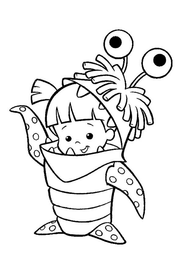Monsters Inc, : Boo in Her Monster Costume in Monsters Inc Coloring Page