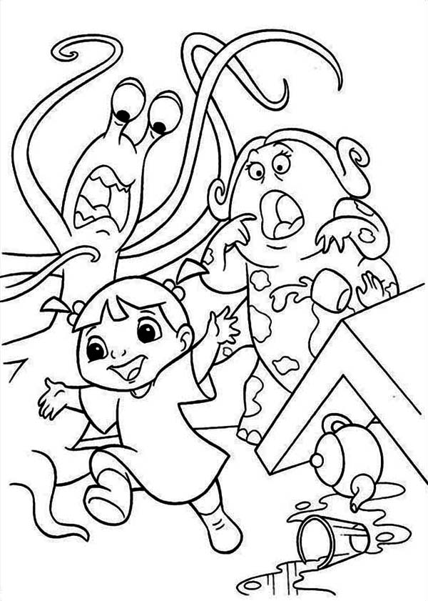 Monsters Inc, : Boo is Making Lots of Trouble in Monsters Inc Coloring Page