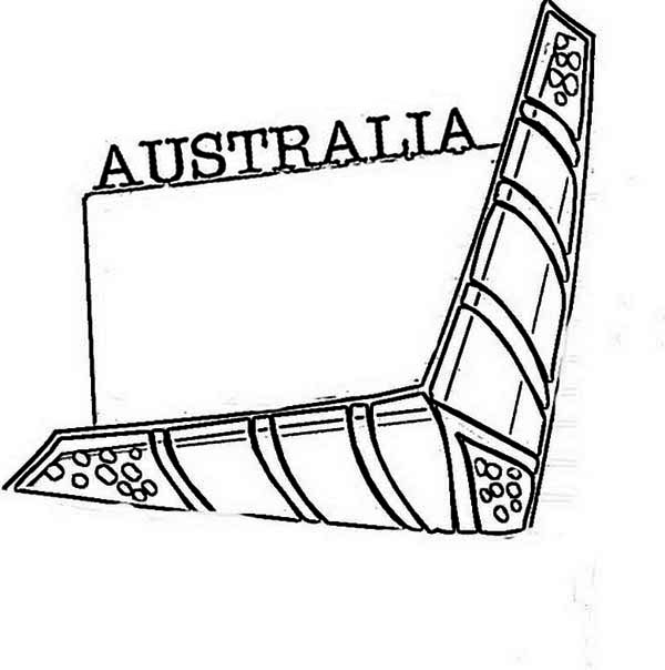 Australia Day, : Boomerang, a Traditional Aborigin Weapon for Australia Day Coloring Page