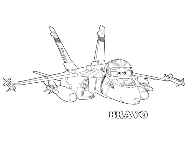 Disney Planes, : Bravo the Fighter Jet in Disney Planes Coloring Page