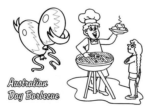 Australia Day, : Celebrating Australia Day with Barbecue Coloring Page