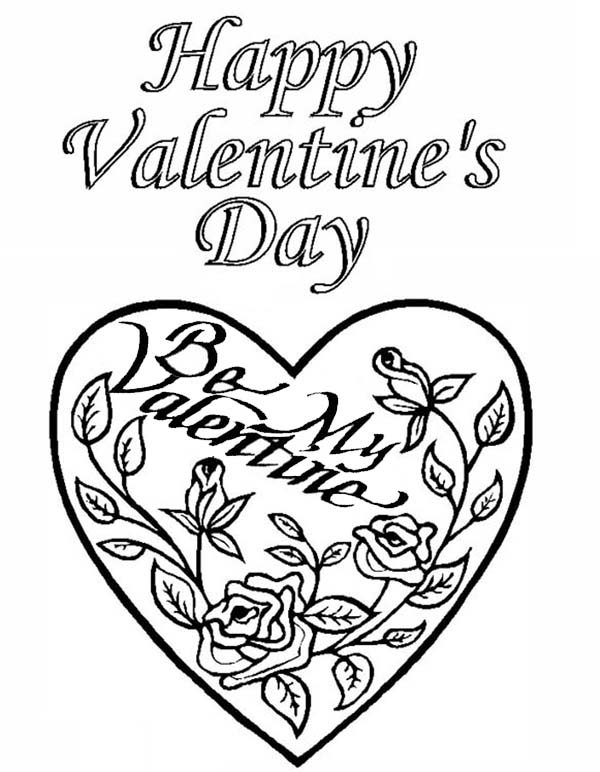 Valentine's Day, : Classic Valentine's Day Card Illustration Coloring Page