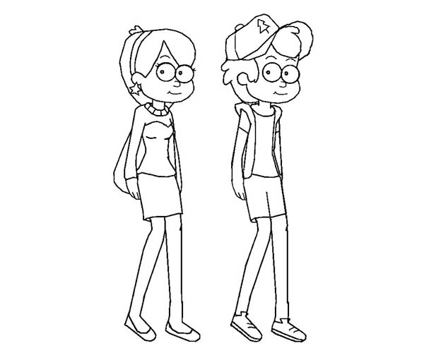 Gravity Falls, : Cool Dipper Pines and Mabel Pines Gravity Falls Coloring Page