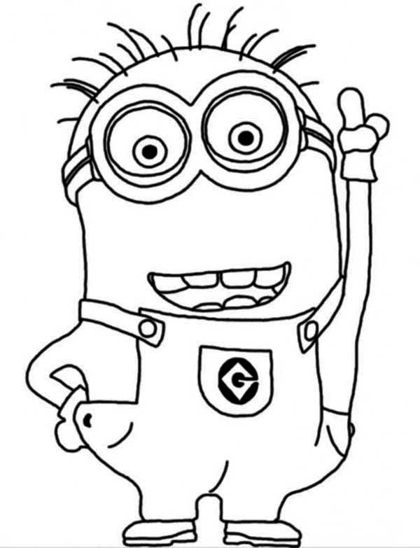 Minion, : Crazy Dave The Minion Coloring Page