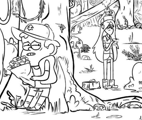 Gravity Falls, : Dipper Pines Scared to Give Flower to Wendy Corduroy Gravity Falls Coloring Page