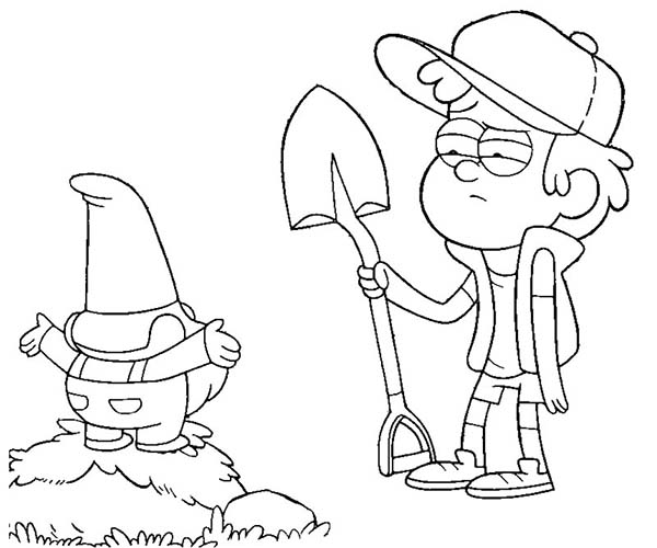 Gravity Falls, : Dipper Pines and Gnome Digging with Shovel Gravity Falls Coloring Page