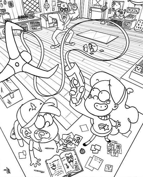 Gravity Falls, : Dipper Pines and Mabel Pines Play with Anchor Gun Gravity Falls Coloring Page