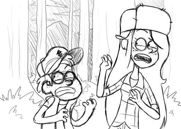 Gravity Falls, : Dipper Pines and Wendy Corduroy Gravity Falls Coloring Page