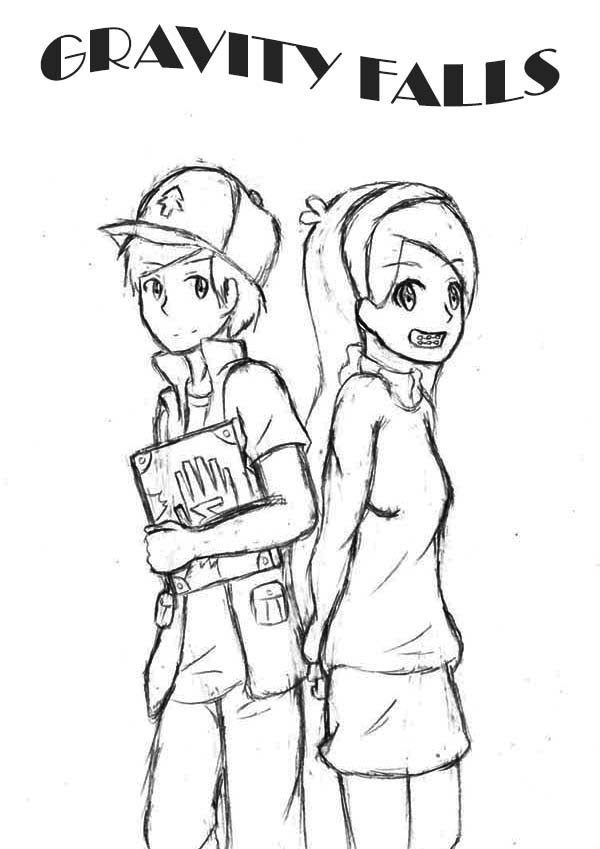 Gravity Falls, : Dipper and Mabel Pines Gravity Falls Coloring Page
