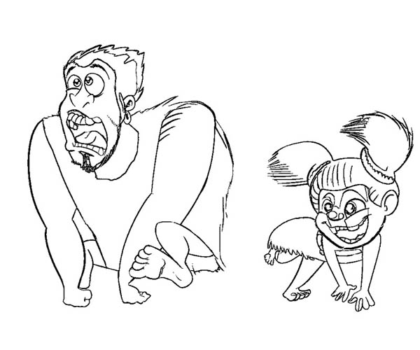 The Croods, : Drawing of Grug and Sandy from the Croods Coloring Page