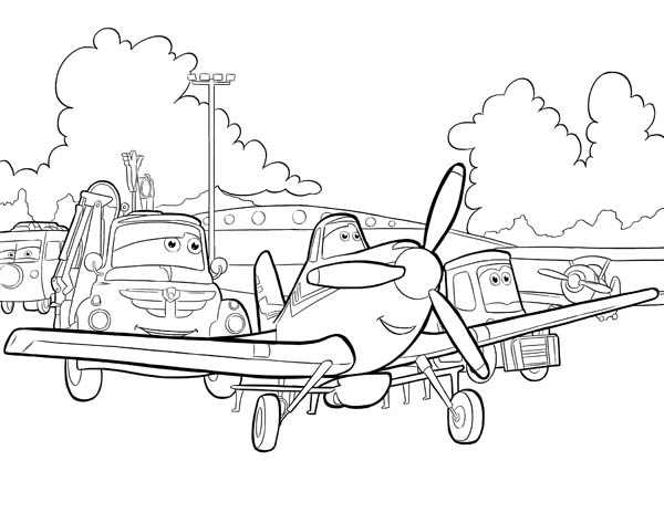 Disney Planes, : Dusty, Chug and Dottie Before the Race in Disney Planes Coloring Page