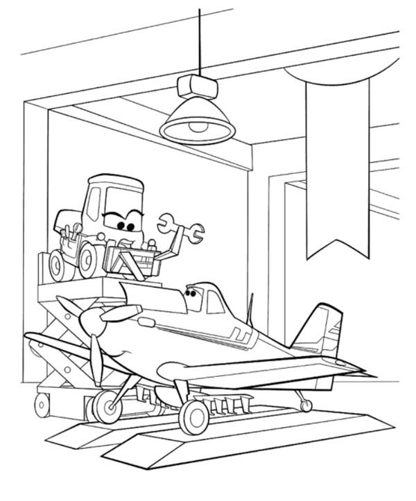 Disney Planes, : Dusty Getting Fixed by Dottie in Disney Planes Coloring Page