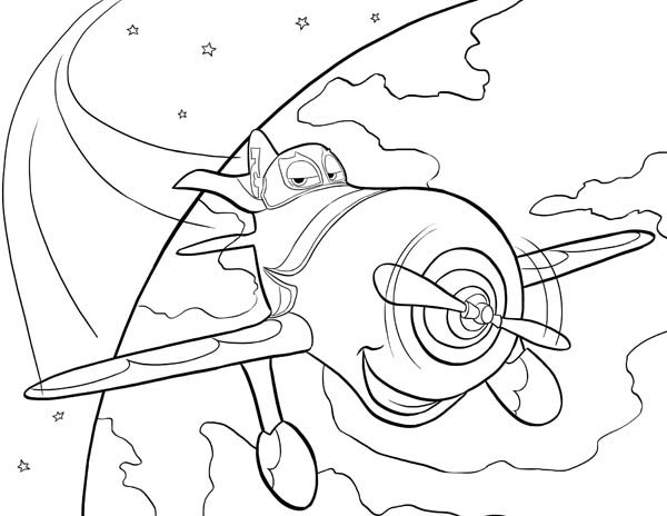 Disney Planes, : El Chupacabra Circling the Earth in Disney Planes Coloring Page